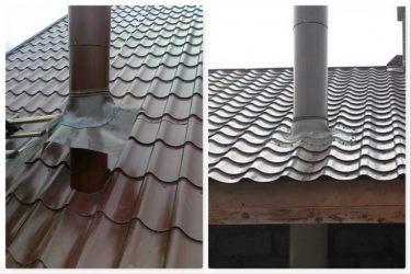 Проход трубы через крышу из металлочерепицы